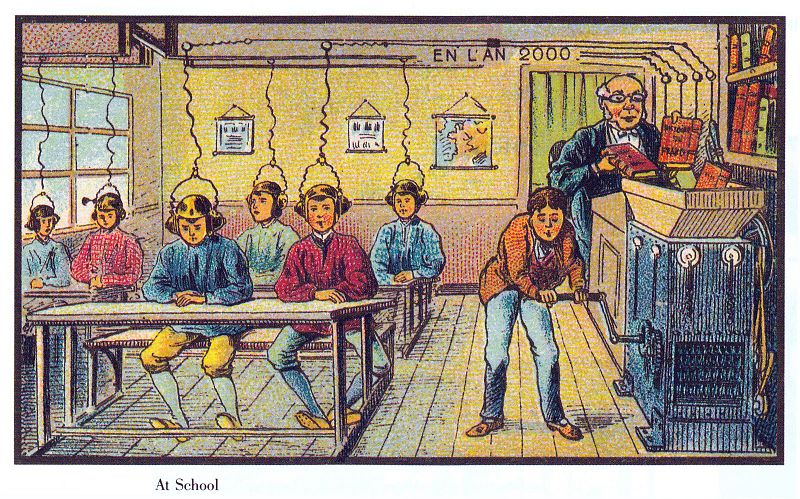 Jean Marc Cote (if 1901) or Villemard (if 1910), https://commons.wikimedia.org/wiki/File:France_in_XXI_Century._School.jpg, https://creativecommons.org/licenses/publicdomain/